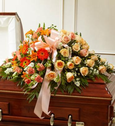 Peach, Orange, and White Half Casket Cover