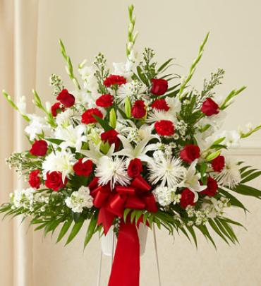 Red and White Sympathy Standing Basket