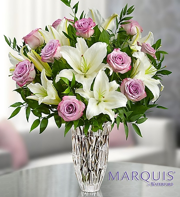 Marquis By Waterford with Purple Rose and Lily Bqt.