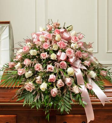 Pink And White Half Casket Cover