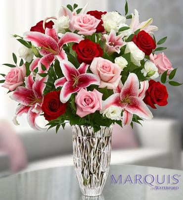Marquis By Waterford with Red Rose and Lily Bqt.