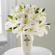 Faithful Blessings Bouquet -Only in Clear Vase with silver Cross